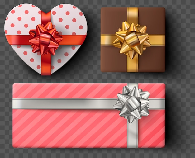 Gift box set with golden bow, ribbons isolated on gray transparent background. realistic vector heart shape giftbox. colorful wrapped gift boxes presents. valentine decoration collection Premium Vector