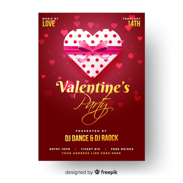 Gift Box Valentine Party Poster Template Vector Free Download