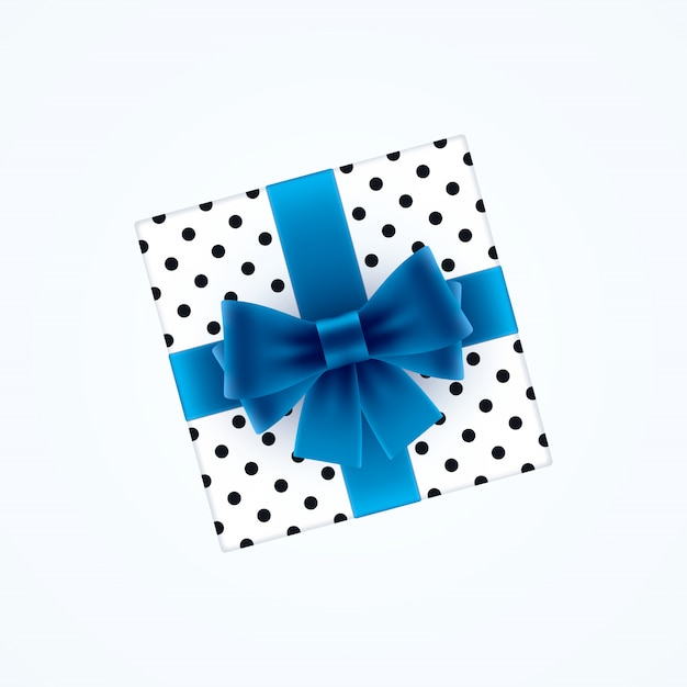 Gift box with blue bow Premium Vector