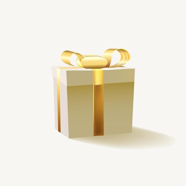 골드 리본 흰색 배경에 고립 된 선물 상자. 프리미엄 벡터