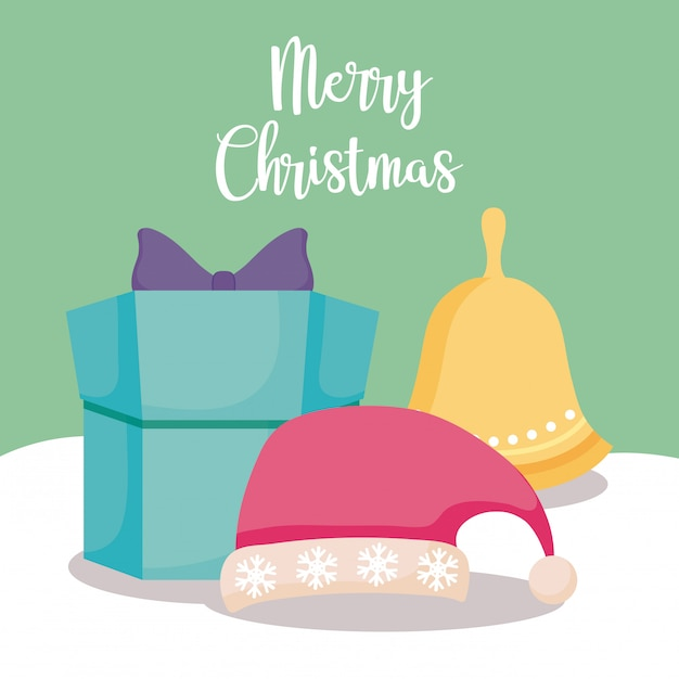 Gift box with hat and bell of christmas Premium Vector