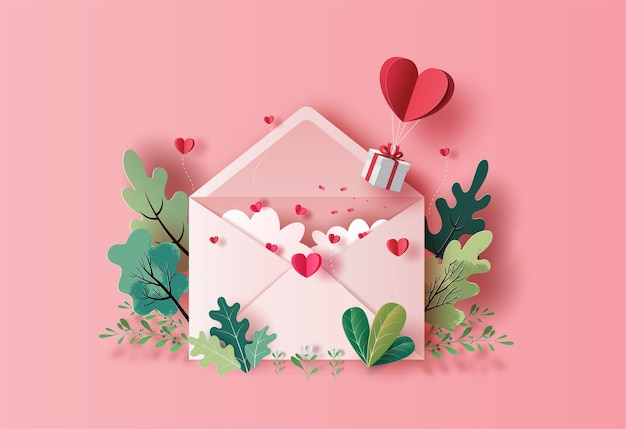 Gift box with heart balloon floating with a love letter in paper illustration Premium Vector