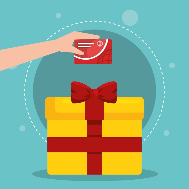 Gift box with marketing set icons Free Vector