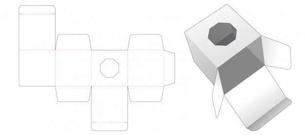 Gift box with octagonal shaped window die cut template design Premium Vector
