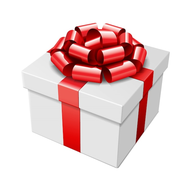 Gift box with red bow and ribbon isolated on white   illustration Premium Vector