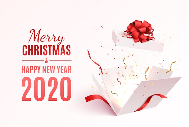 빨간 리본 및 활 선물 상자입니다. 기쁜 성 탄과 새 해 복 많이 받으세요 배너입니다. 프리미엄 벡터