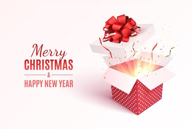 빨간 리본 및 활 선물 상자입니다. 기쁜 성 탄과 새 해 복 많이 인사말 카드입니다. 프리미엄 벡터