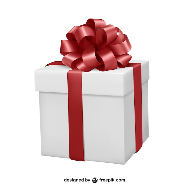 Gift box with red ribbon Vector | Free Download