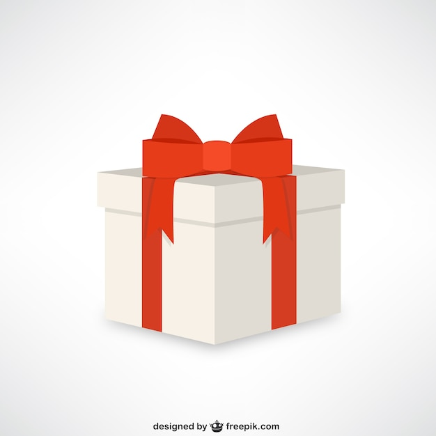 gift box with red ribbon vector free download