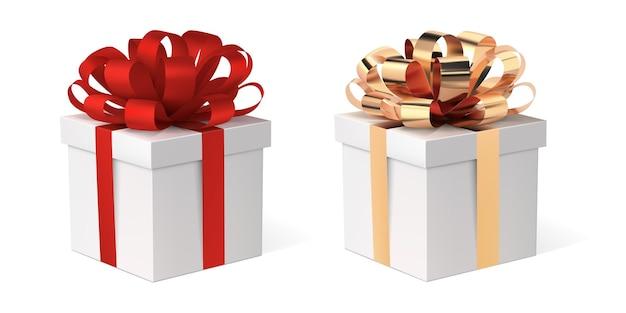 리본 세트 선물 상자 프리미엄 벡터