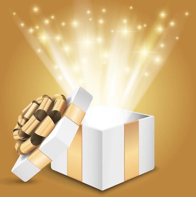 Подарочная коробка с ярким светом. иллюстрация Premium векторы