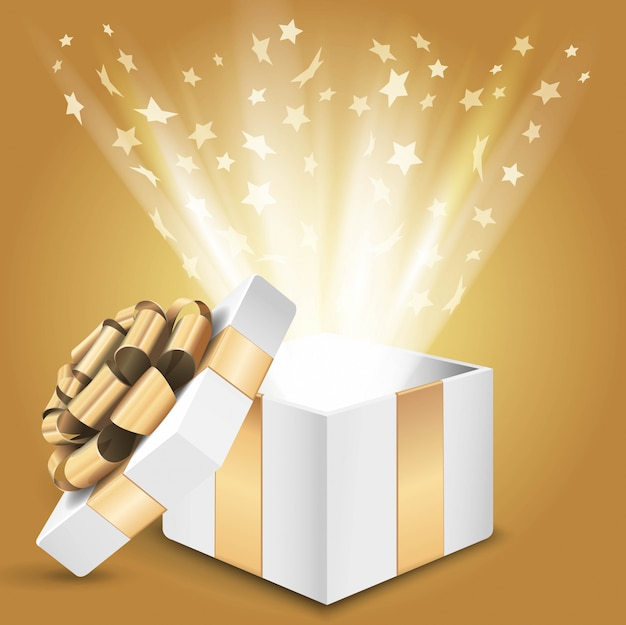 Gift box with shining light and stars.  illustration Premium Vector