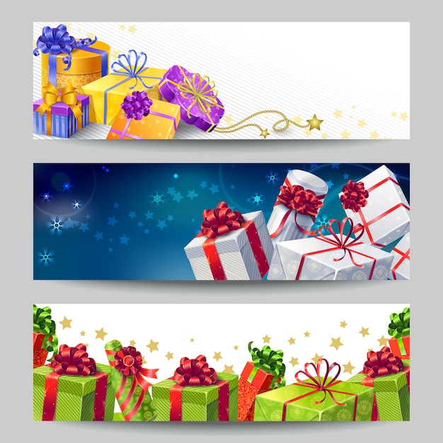 Gift boxes banner set Free Vector