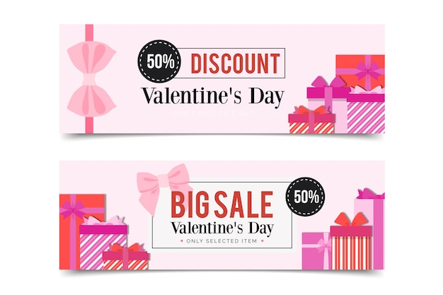 Gift boxes banners for valentine's day Free Vector