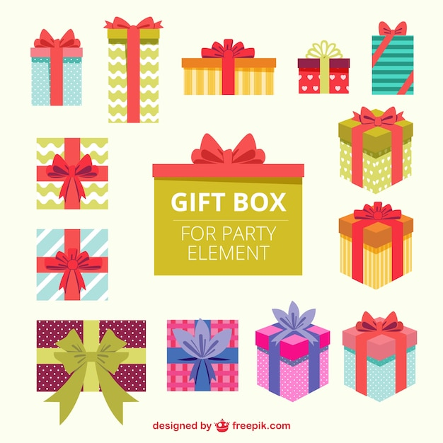 Gift boxes for party element Free Vector