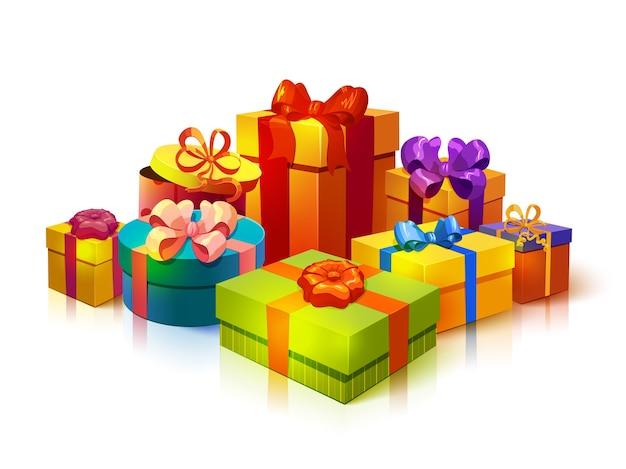 Состав стопки подарочных коробок Бесплатные векторы