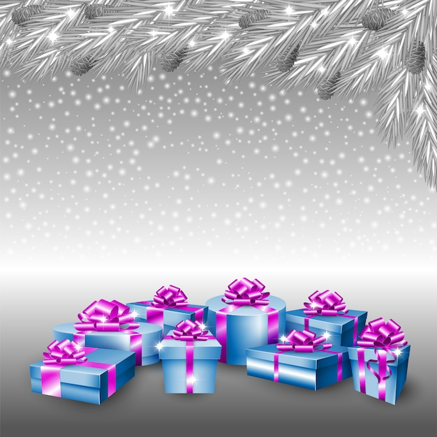 Gift boxes and silver christmas tree Premium Vector
