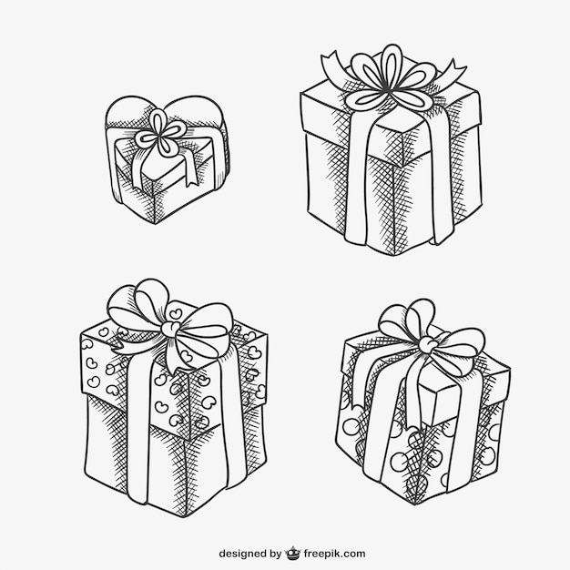 Gift Boxes Sketch Drawings Vector Free Download