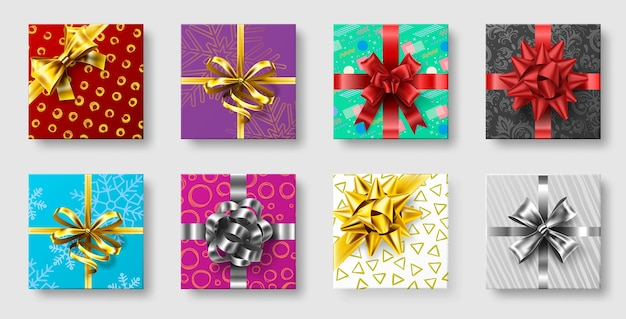 Gift boxes with ribbon bow. gifts decoration bows, christmas holidays top view presents boxes. Premium Vector