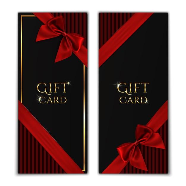 ギフトカード。赤いリボンと弓と黒のギフト券テンプレート。図。 Premiumベクター