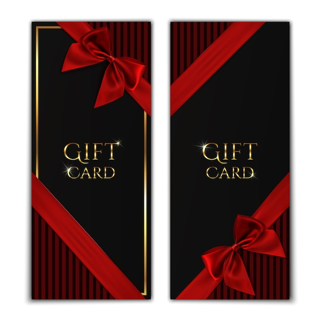 Gift card. black gift voucher templates with red ribbon and a bow.  illustration. Premium Vector
