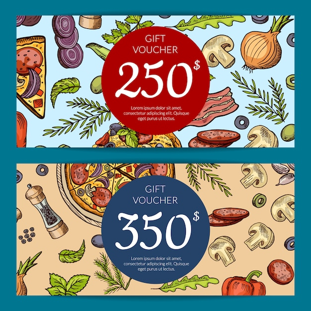 Gift card and coupon for pizza discount lunch Premium Vector