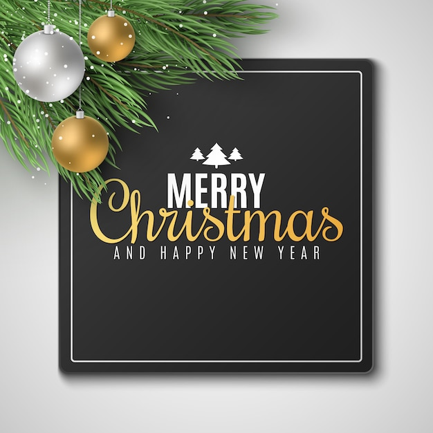 Gift card for merry christmas and happy new year 2020. fir tree with festive balls. falling snow. Premium Vector