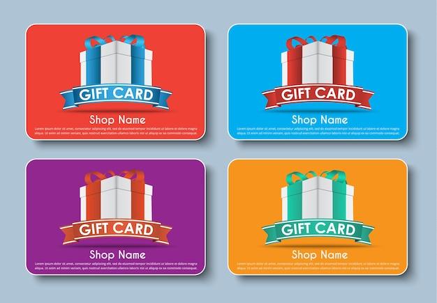 Gift card set Premium Vector