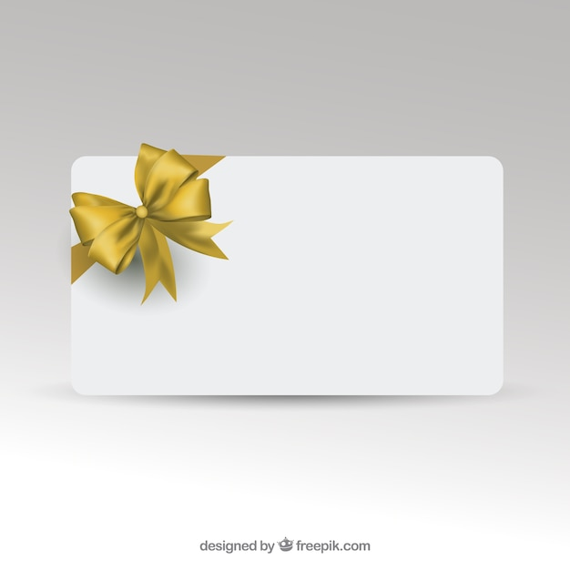Gift Card Template With Golden Ribbon Vector  Free Download