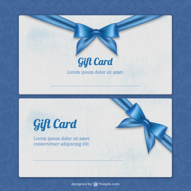 Gift card templates with blue ribbon Vector – Gift Card Samples Free
