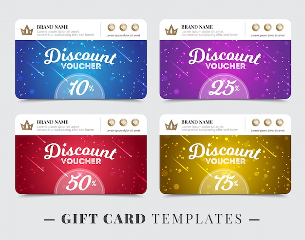 Gift card templates with stripe for brand name discount Free Vector