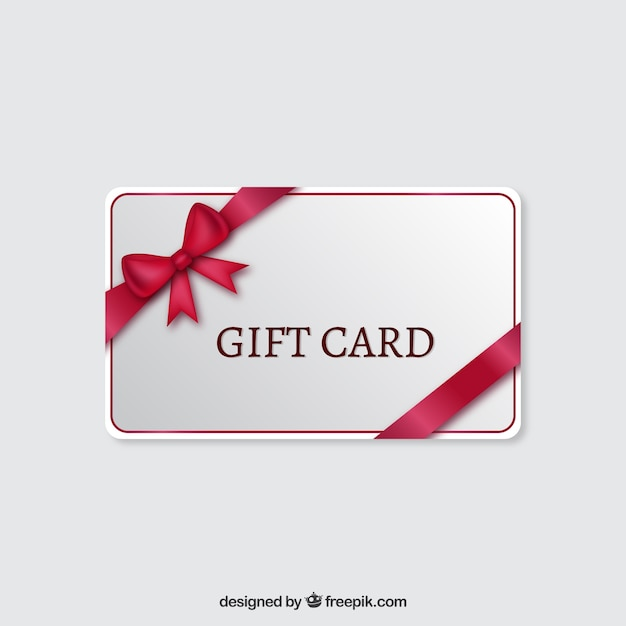 Gift Card With A Red Ribbon Vector