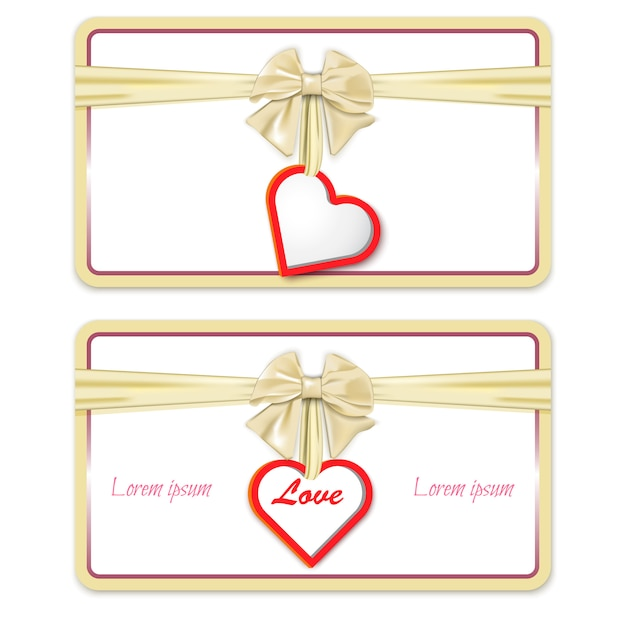 Gift card with a bow and a heart Premium Vector