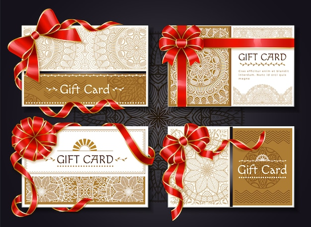Gift cards and certificates with red ribbons set Premium Vector