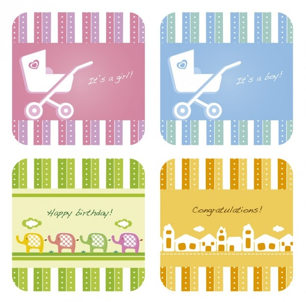 gift cards collection for baby shower vector free download