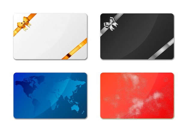 Gift cards on white Premium Vector
