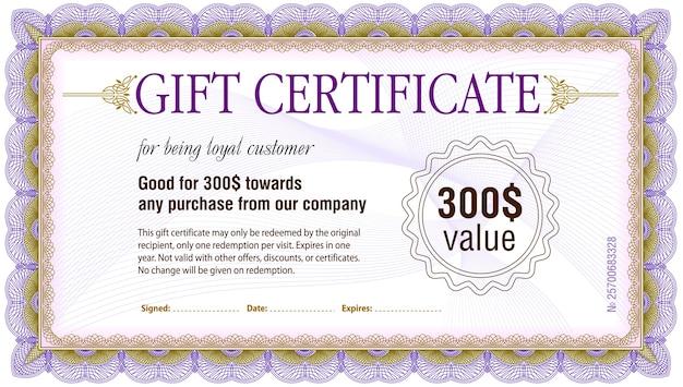 Gift Certificate Blank Template Vector Premium Download