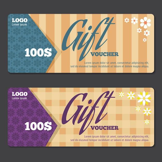 Modello di disegno del certificato regalo. buono regalo, buono regalo buono, prezzo regalo speciale. illustrazione vettoriale Vettore gratuito