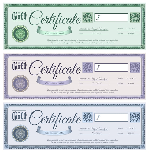 Gift Certificates Set Free Vector