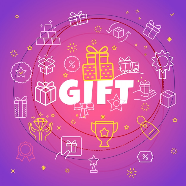 Gift concept. different thin line icons included Premium Vector