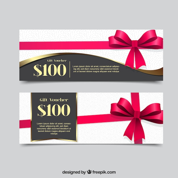 Gift coupons with decorative pink ribbon Free Vector