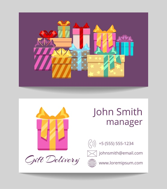 Gift delivery service business card both sides template Premium Vector