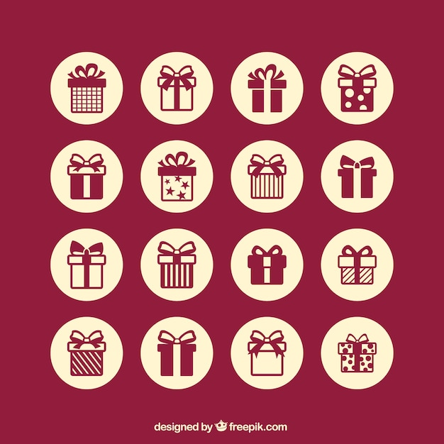 Gift icons Free Vector