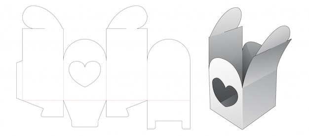 Gift packaging box with heart window die cut template Premium Vector