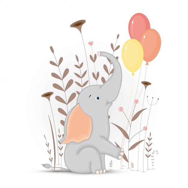 Gift postcard with cartoon animals elephant. decorative floral background with branches and plants. Premium Vector