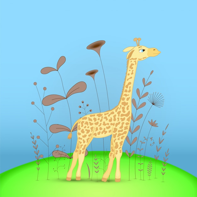 Gift postcard with cartoon animals giraffe. Premium Vector