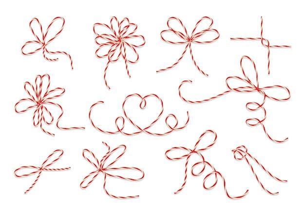 선물 꼬기 활 벡터 세트. 장식 선물 생일 또는 크리스마스 일러스트를위한 문자열 매듭 루프 무료 벡터
