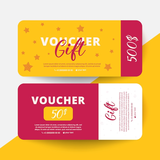Gift voucher card set template with stars Premium Vector