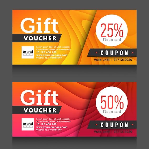 Gift voucher coupon design template. Premium Vector