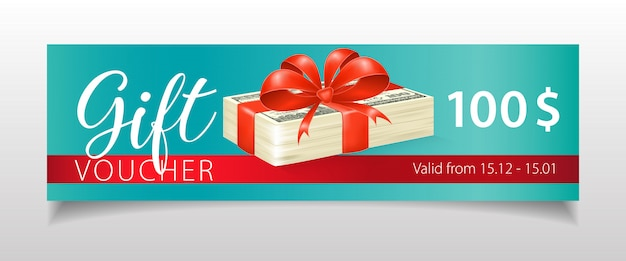 Gift voucher lettering with dollar banknotes and ribbon Free Vector